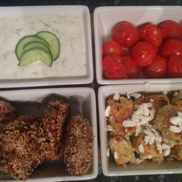 greek lamb patties, spicy zucchinni feta cubes and tzatziki recipe